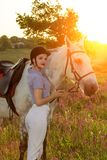 Jockey young girl petting and hugging white horse in evening sunset. Sun flare. Taking care of animals, love and friendship concept. Jockey young girl petting royalty free stock photography