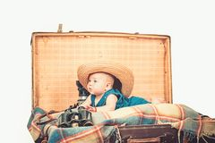 Taking care of a baby. Small girl in suitcase. Traveling and adventure. Portrait of happy little child. Sweet little. Baby. New life and birth. Childhood royalty free stock photos