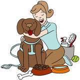 Taking Care of Dog. An image of a female taking care of a dog Royalty Free Stock Images