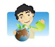 Taking care of the Earth. Man man watering the earth with plant sprouting out of it as a result Royalty Free Stock Photo