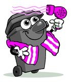 Taking care of the environment. Cartoon illustration of a wheelie bin drawn as a character wrapped around with a purple and white striped towel and holding a Royalty Free Stock Image