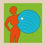 Taking care of the figure. Orange silhouette of woman with big blue ball in his hands on a green background Royalty Free Stock Image