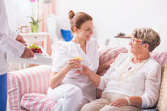 Taking care of the patient's medical condition Stock Images
