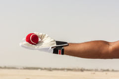Taking the catch of red ball with hands Royalty Free Stock Photos