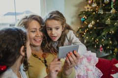 Taking Christmas Selfies With My Grandchildren stock photos