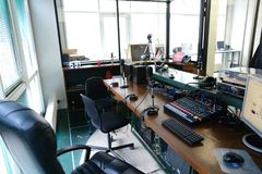 Shooting details of equipment and devices for recording on radio royalty free stock images