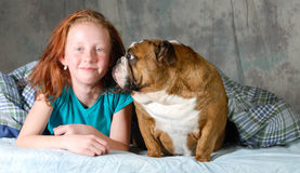 Taking dog to bed Stock Photography