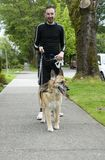 Taking the dog for a walk Royalty Free Stock Images
