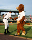 Taking the field. Charleston RiverDogs mascot Charlie high fives Isaias Tejeda as he takes the field to start the game Stock Photography