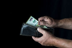 Taking a five hundred Argentine peso bill Royalty Free Stock Photos