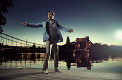 Taking fresh breath at the evening Stock Image