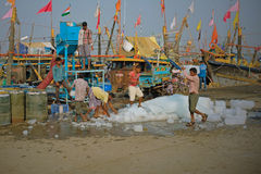 Taking ice aboard at Diu island, Gujarat Stock Image