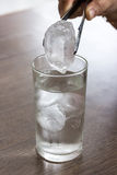 Taking ice cubes  on a gin tonic session Royalty Free Stock Photography