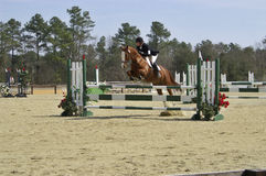 Taking the jump. Horse and rider participating in a show royalty free stock image