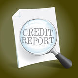 Examining a Credit Report. Taking a look at a credit report vector illustration