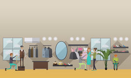 Taking measurements from clients vector illustration in flat style. Vector illustration of custom dressmakers, tailors male and female taking measurements from Royalty Free Stock Image
