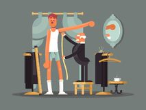 Taking measures at tailor shop. Tailoring, custom clothes vector illustration Stock Photos