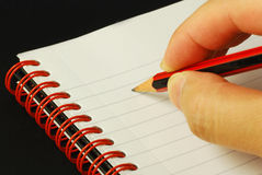 Taking notes. Concepts of education and knowledge Royalty Free Stock Image