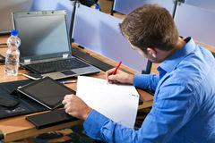 Taking notes stock images