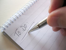 Taking Notes. Notepad with To Do  list Stock Image