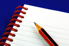 Taking notes isolated on blue. Concepts of education and knowledge Stock Photography