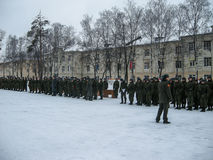Taking the oath in the Russian military unit in Kaluga region. Royalty Free Stock Photos
