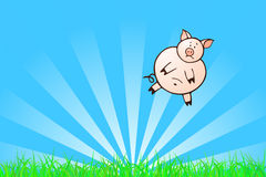 Taking Off. Swine hovering above green grass Royalty Free Stock Image
