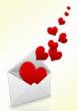 Taking off hearts from an envelope Royalty Free Stock Images