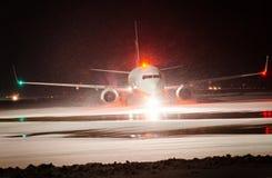 Taking off or landing plane. Royalty Free Stock Photos