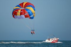 Taking off with parasail chute Stock Photos