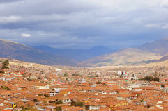 Taking off the passenger plane above Cuzco. Stock Photography