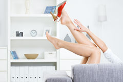 Taking off shoes stock photo