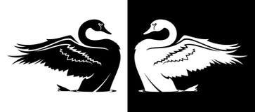 Swan taking off silhouette stock illustration