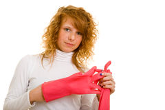 Taking off work gloves Royalty Free Stock Photography