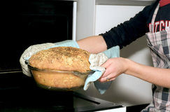 Taking out potato bread from oven Royalty Free Stock Photo