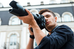 Taking a perfect shot. Royalty Free Stock Image