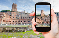 Taking photo of ancient ruins on Capitoline Hill Royalty Free Stock Images