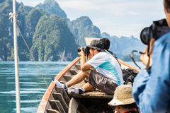 Taking photo from boat Royalty Free Stock Photography