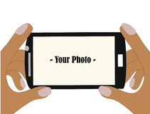 Taking photo with camera phone vector. Use phone taking photo, editable version so you can put your own photo in Royalty Free Stock Photos