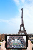 Taking photo of Champ de Mars and Eiffel Tower Royalty Free Stock Photo