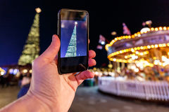 Taking photo of Christmas fair in Hyde park in 2016 Stock Photo