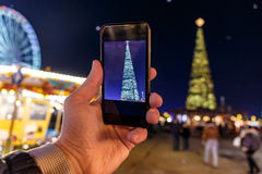 Taking photo of Christmas fair in Hyde park in 2016 Royalty Free Stock Images