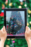 Taking photo of christmas tree Royalty Free Stock Photos
