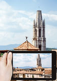 Taking photo of Collegiate Church of Sant Feliu Royalty Free Stock Images