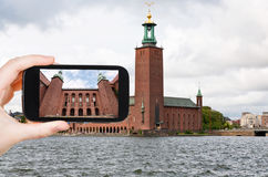 Taking photo of courtyard Stockholm City Hall Royalty Free Stock Photo