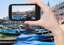 Taking photo of gondolas near Piazza San Marco Royalty Free Stock Photos