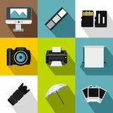 Taking photo icons set, flat style. Taking photo icons set. Flat illustration of 9 taking photo vector icons for web Royalty Free Stock Photo