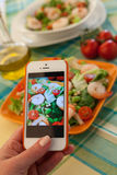 Taking Photo of Italian Shrimp Salad Stock Photos