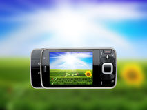 Taking photo with mobile cell phone - landscape o Royalty Free Stock Photo