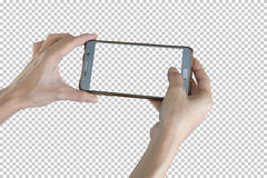 Taking photo with mobile smart phone. Taking photo with mobile smart phone isolated on transparent background with clipping path for the screen Royalty Free Stock Photography